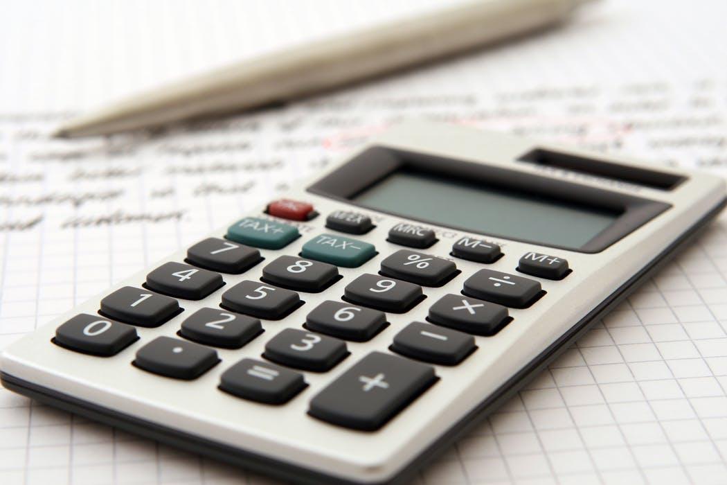 calculator, pen