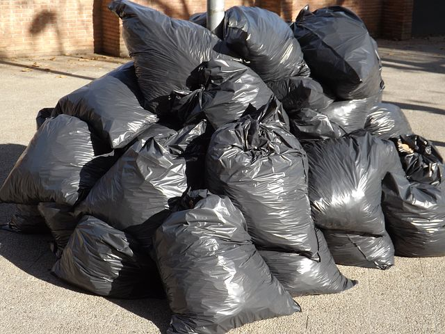 garbage bags full of waste