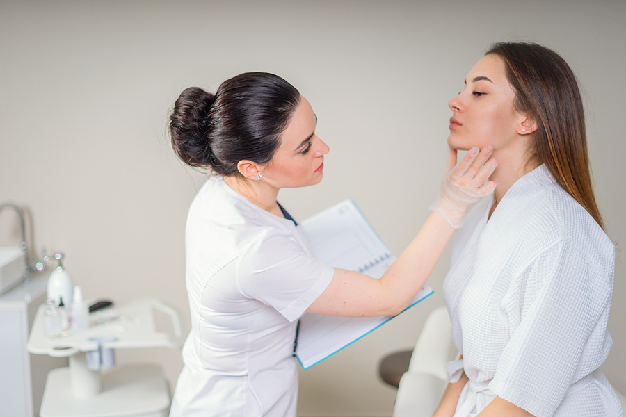 Woman getting a consultation on a skin cancer clinic in Melbourne