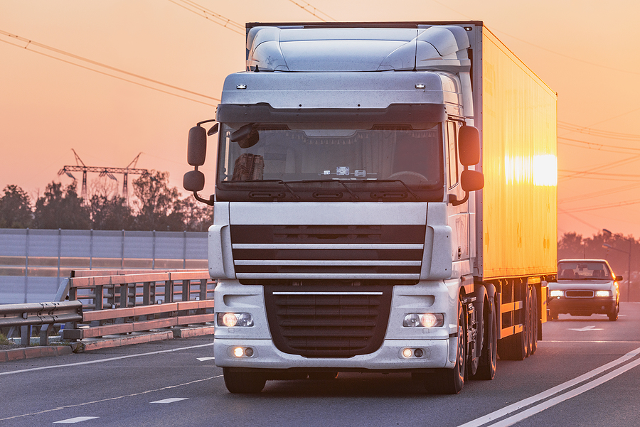 Freight forwarding truck on the highway